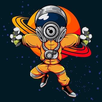 De astronaut met spuitbus in de illustratie van het heelal