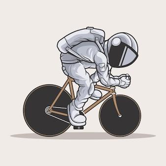 De astronaut van een fiets Premium Vector