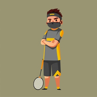 De atleet van het tennis draagt masker tijdens c pandemie