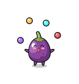 De aubergine-circuscartoon jongleert met een bal, schattig aubergine-personage, houdt een oude telescoop vast