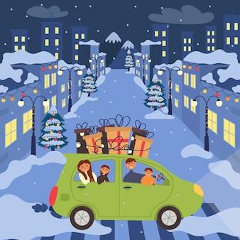 De auto met het gezin gaat het nieuwe jaar vieren. vakantiegeschenken op het dak van de auto. nacht nieuwjaar versierde straten. kerst illustratie kaart