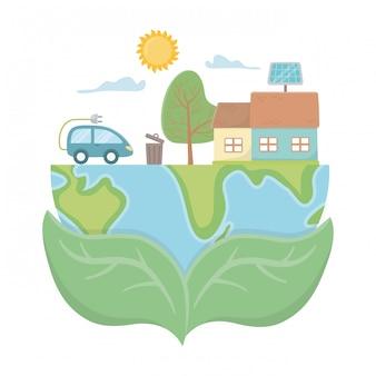 De auto van eco en sparen planeetontwerp