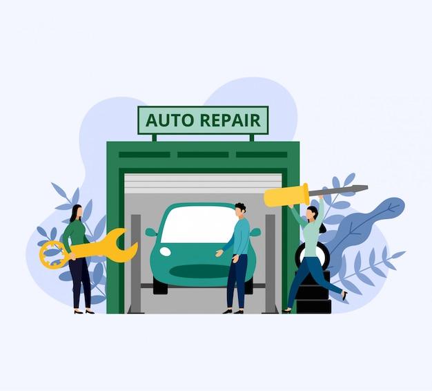 De autodienst en reparatie, arbeiders die auto, bedrijfsconcepten vectorillustratie bevestigen