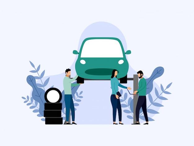 De autodienst en reparatie, arbeiders die auto, bedrijfsillustratie bevestigen