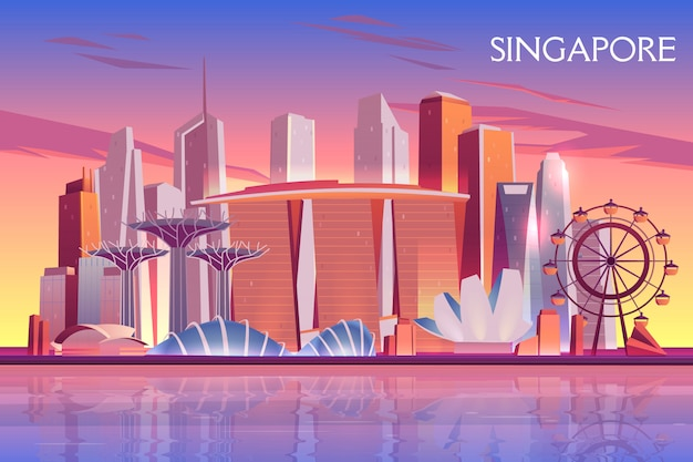 De avond van singapore, ochtendhorizon met futuristische wolkenkrabbergebouwen op verlichte stadsbaai