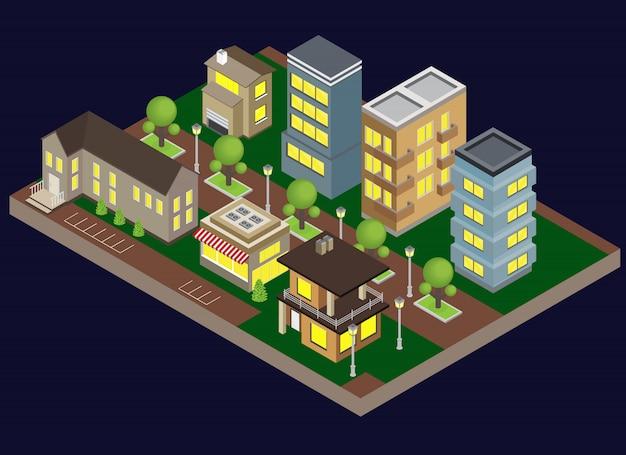 De avondgebouwen van suburbia met isometrische herenhuizen en appartementen