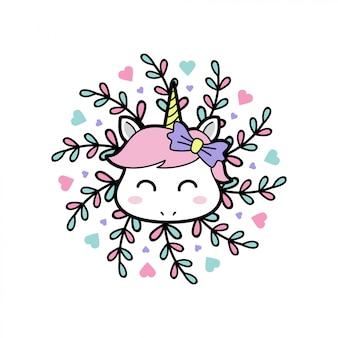De babyeenhoorn van de glimlach met bloemenmandala Premium Vector