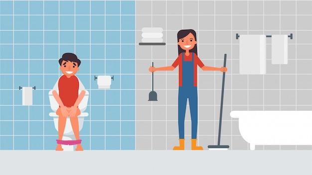 De badkamer schoonmaken de hobbyactiviteiten van geliefden brengen samen illustratie door in platte cartoonstijl