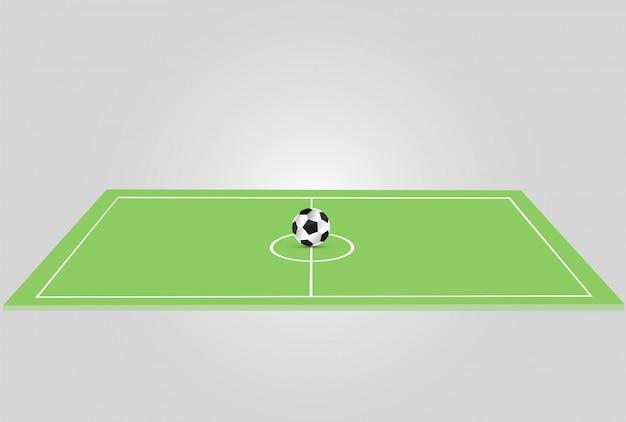 De bal ligt op het gras. een voetbalwedstrijd. illustratie. een mooie bal en groen gras. sjabloon van de folder van de liga van de voetbal.