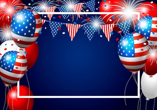 De ballonontwerp van de vs van amerikaanse vlag met vuurwerk
