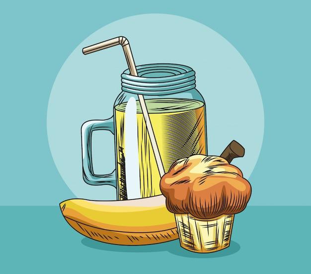 De banaan en het sap van de vers fruitmuffin
