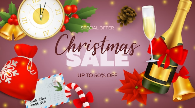 De banner van de kerstmisverkoop met champagnefles en klok