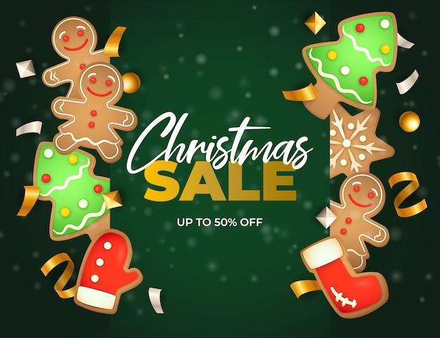 De banner van de kerstmisverkoop met gemberbrood op groene grond