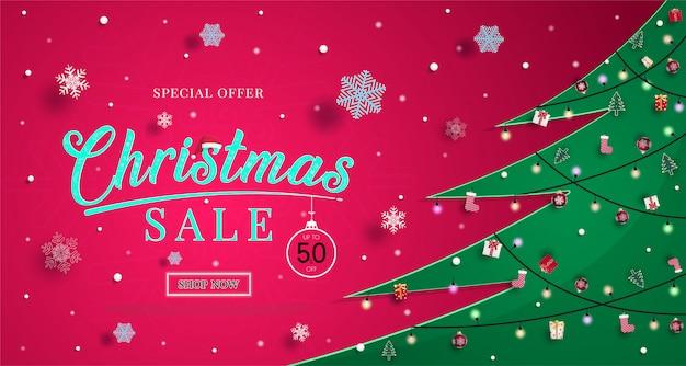 De banner van de kerstmisverkoop met sneeuwvlokken en om te winkelen de illustratie of de achtergrond van de kortingsbevordering