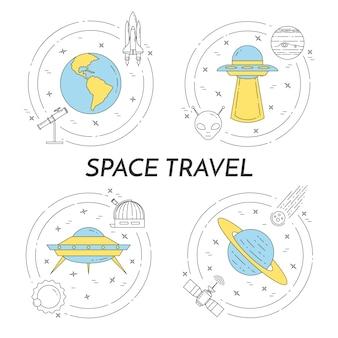 De banner van de ruimtevaartlijn met kosmospictogrammen.