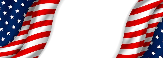 De banner van de vs van amerikaanse vlag op witte achtergrond