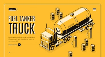 De banner van het brandstofvervoerweb met tankervrachtwagen die benzine vervoeren aan benzinestation