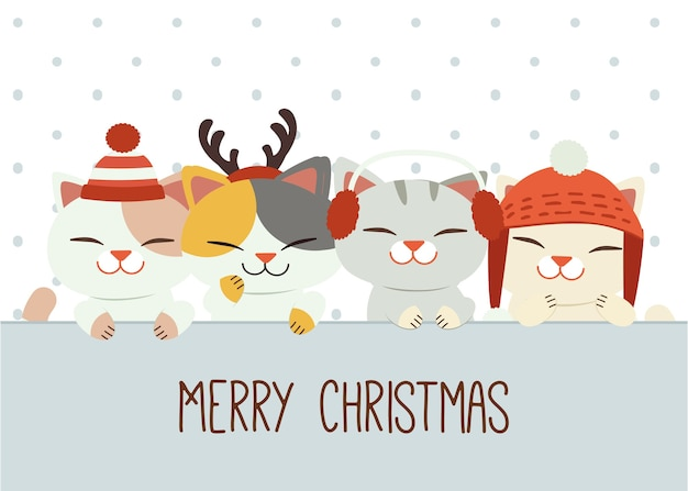 De banner van schattige kat en vrienden met winteraccessoires in vlakke stijl.