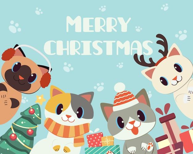 De banner van schattige kat in kerstthema voor vrolijk kerstfeest.