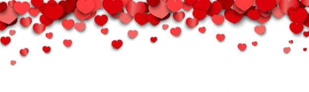 De bannerachtergrond van de valentijnskaartendag met verspreide hartstickers