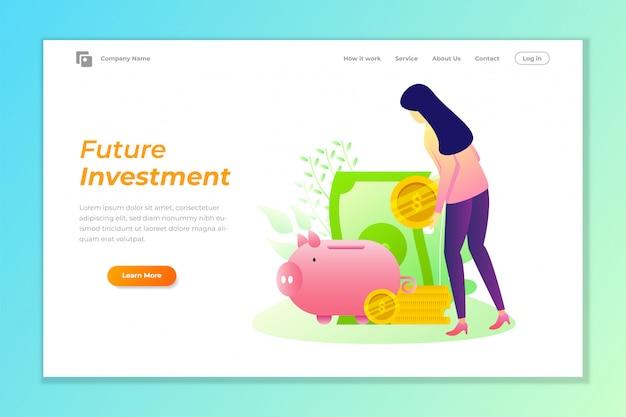 De bannerachtergrond van het investeringsweb met de vectorillustratie van het spaarvarken