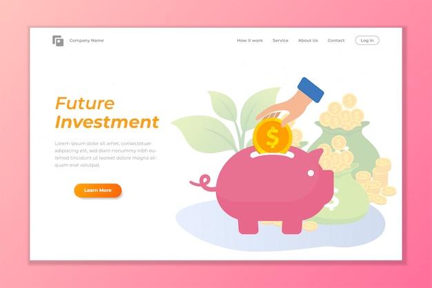 De bannerachtergrond van het investeringsweb met spaarvarken