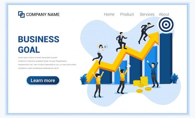 De bannerconcept van het bedrijfsdoelweb met zakenman kolom voor kolom doorgenomen naar het doel voor hun succes.