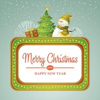 De bannerillustratie van de kerstmisverkoop met sneeuwman