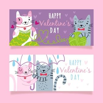 De banners van de de valentijnskaartendag van het kattenpaar