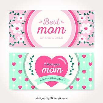 De banners van de gelukkige moederdag in vlak ontwerp