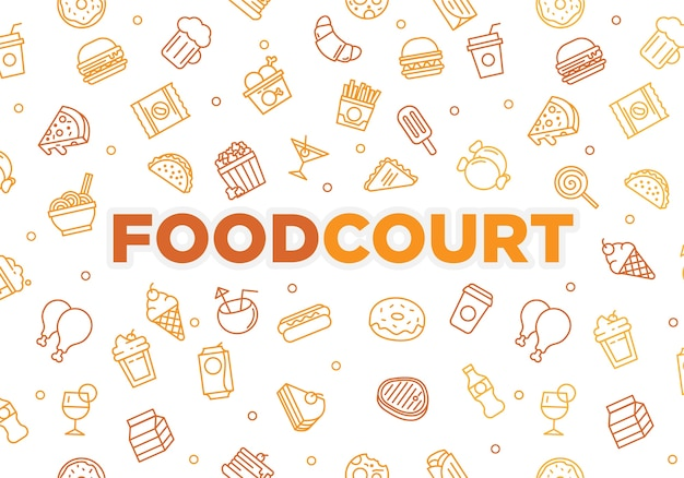 De bannertextuur van het voedselhof met het concept van het krabbelbeeldverhaal