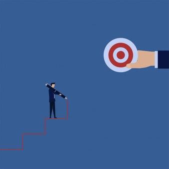 De bedrijfs vlakke conceptenmens trekt trap met pen naar de doelmetafoor maakt uw eigen manier.