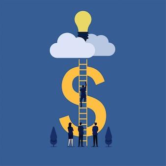 De bedrijfs vlakke mens van het illustratieconcept beklimt ladder aan wolk om ideemetafoor van online idee te nemen.
