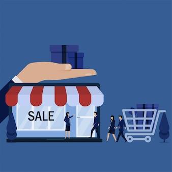 De bedrijfs vlakke vectorconceptenmensen lopen om op laptop op te slaan om metafoor van online winkel te winkelen.