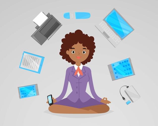De bedrijfs vrouwenmeditatie, ontspant met bureau elektronische gadgets rond meisje in lotusbloyoga stelt illustratie. afro-amerikaanse bedrijfsvrouw die in bureau mediteren.