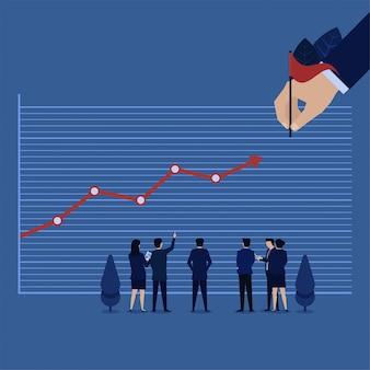 De bedrijfshand plaatste een doelwinst en een grafiek die naar het metafoor gaan van maakt doelbesluit.