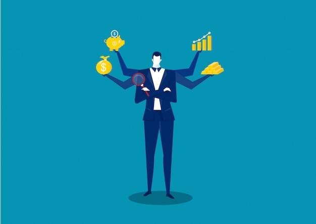 De bedrijfsmens die voor winst met pictogram denken investeert.