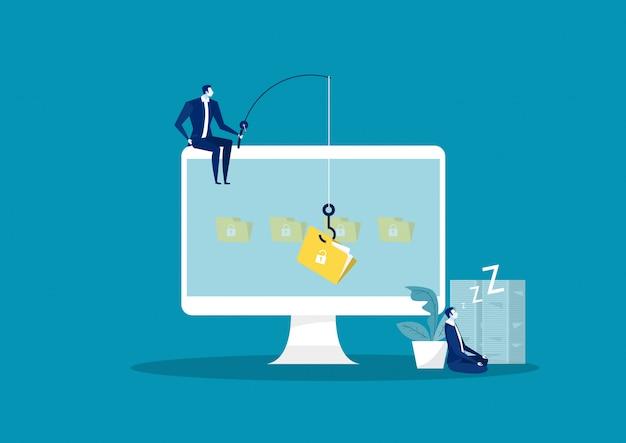 De bedrijfsmens steelt gegevens, hackeraanval op dossierillustratie. val hacker aan op data, phishing en hackingcriminaliteit