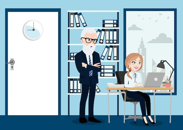 De bedrijfsmensen groeperen, werkgever en personeel of arbeiders op bureauachtergrond in de stijl van het beeldverhaalkarakter.