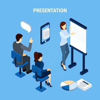 De bedrijfsmensen isometrisch met infographic pictogramelementen dachten bellen en de vectorillustratie van bureauteamleden