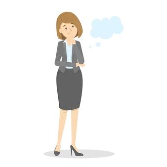 De bedrijfsvrouw denkt over iets na. lege tekstballon