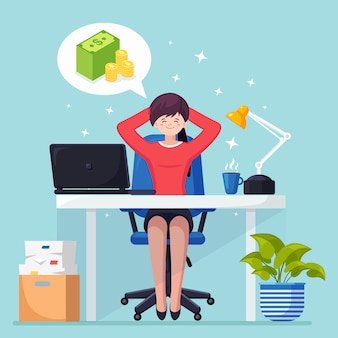 De bedrijfsvrouw ontspant en droomt over stapel geld bij bureaustoel. financiën, investeringen
