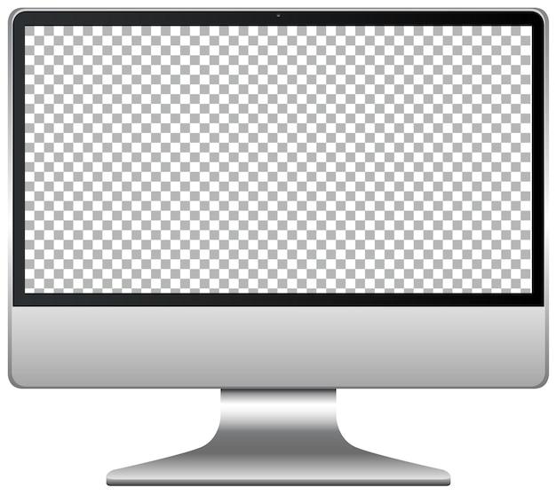 De beeldschermmonitor van de computer die op witte achtergrond wordt geïsoleerd