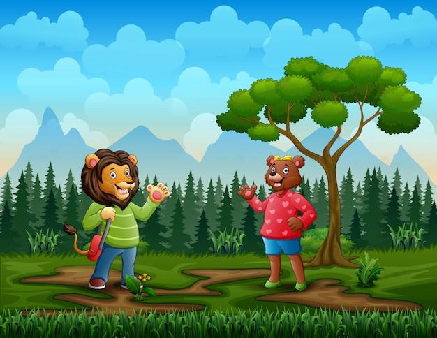 De beeldverhaaldame draagt ontmoet een manleeuw in het bos