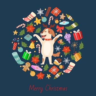 De beeldverhaalhond met kerstmishoornen van een hert met vrolijke kerstmis heeft in ronde samenstelling bezwaar