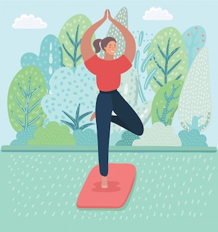 De beeldverhaalillustratie van jonge meisjes die yoga uitoefenen, die zich in boom bevinden stelt op het park, aardlandschap. gezonde levensstijl.