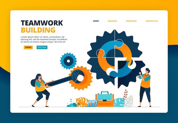 De beeldverhaalillustratie van lost puzzels in de industrie op. een team opbouwen om het bedrijf vooruit te helpen. ontwikkeling van human resources