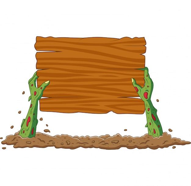 De beeldverhaalzombie deelt van de grond leeg teken uit