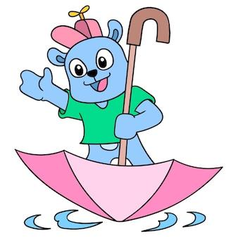 De beer gebruikt de paraplu als boot in de vloedmoessons, vectorillustratieart. doodle pictogram afbeelding kawaii.