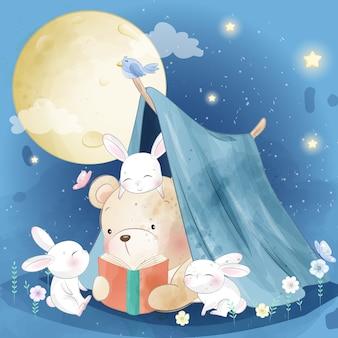 De beer vertelt een verhaal aan het kleine konijntje